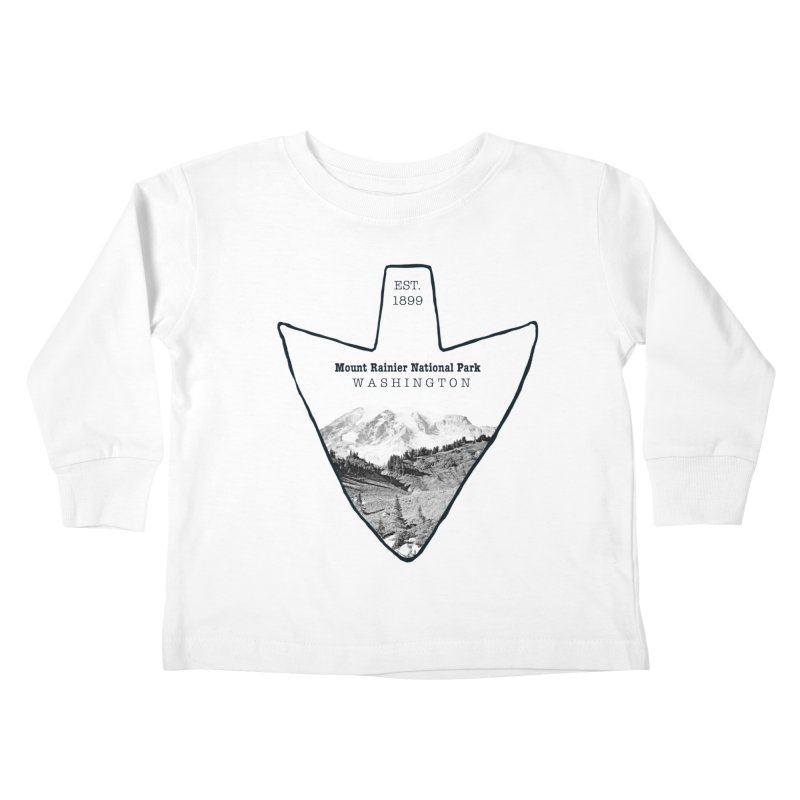 Mount Rainier National Park Arrowhead Kids Toddler Longsleeve T-Shirt by Of The Wild by Kimberly J Tilley