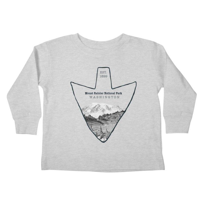 Mount Rainier National Park Arrowhead Kids Toddler Longsleeve T-Shirt by Of The Wild by Kimberly J Tilley