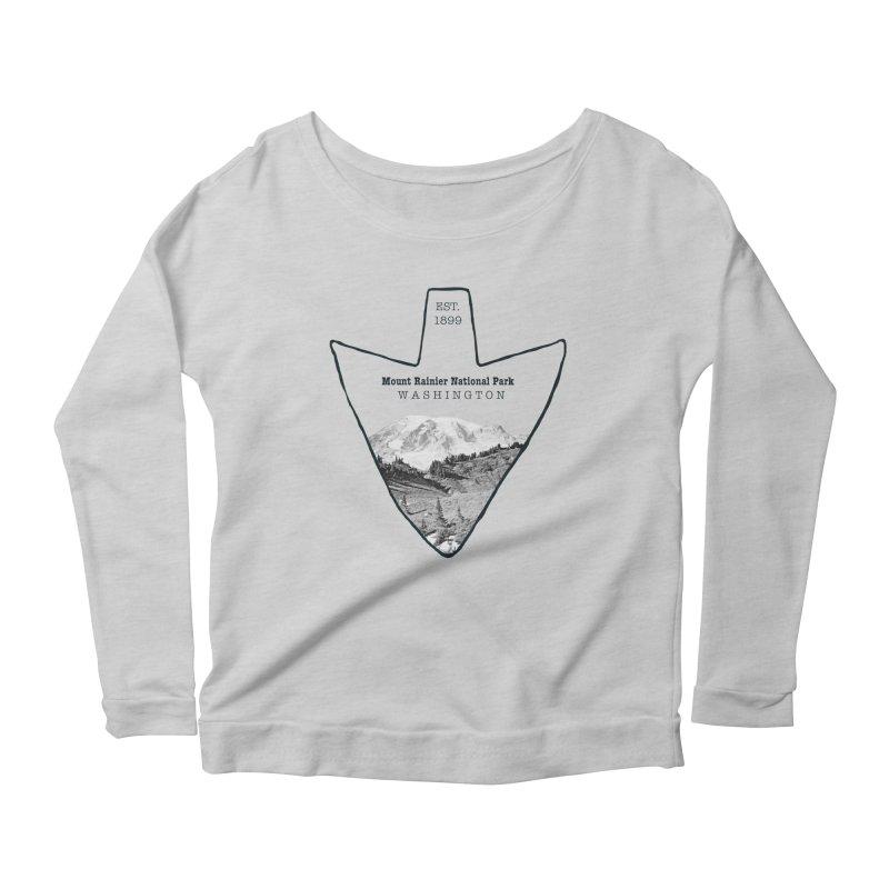 Mount Rainier National Park Arrowhead Women's Scoop Neck Longsleeve T-Shirt by Of The Wild by Kimberly J Tilley