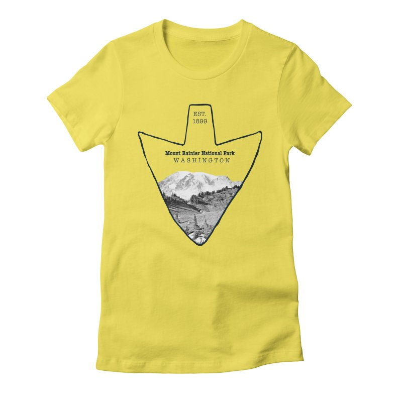Mount Rainier National Park Arrowhead Women's Fitted T-Shirt by Of The Wild by Kimberly J Tilley