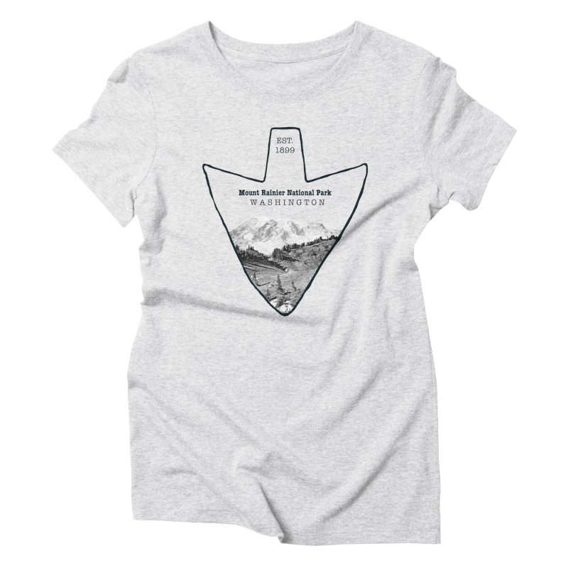Mount Rainier National Park Arrowhead Women's Triblend T-Shirt by Of The Wild by Kimberly J Tilley