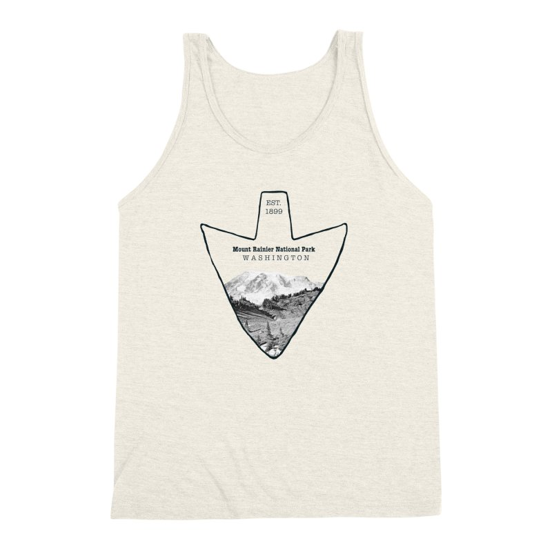 Mount Rainier National Park Arrowhead Men's Triblend Tank by Of The Wild by Kimberly J Tilley