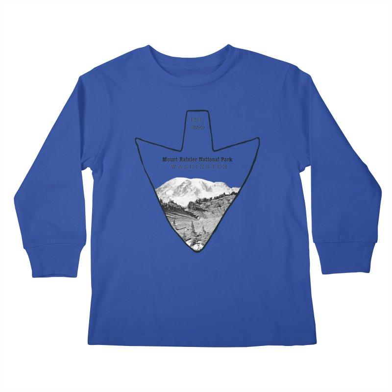 Mount Rainier National Park Arrowhead Kids Longsleeve T-Shirt by Of The Wild by Kimberly J Tilley