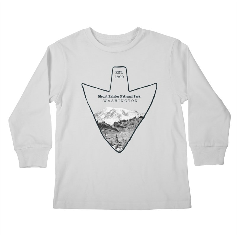 Mount Rainier National Park Arrowhead Kids Longsleeve T-Shirt by Of The Wild by Kimberly J Tilley