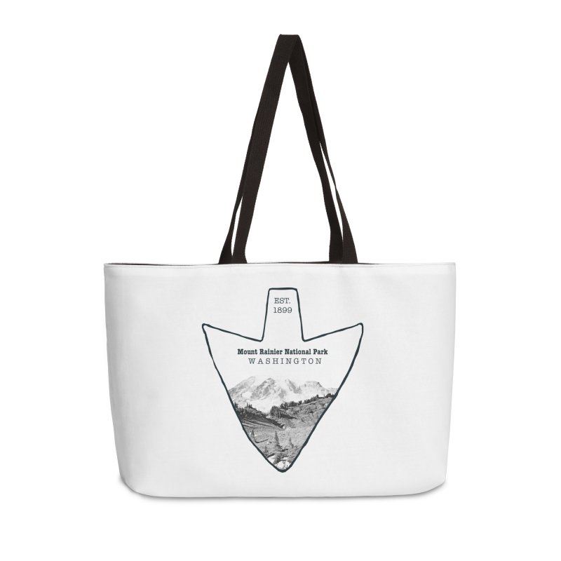 Mount Rainier National Park Arrowhead Accessories Weekender Bag Bag by Of The Wild by Kimberly J Tilley