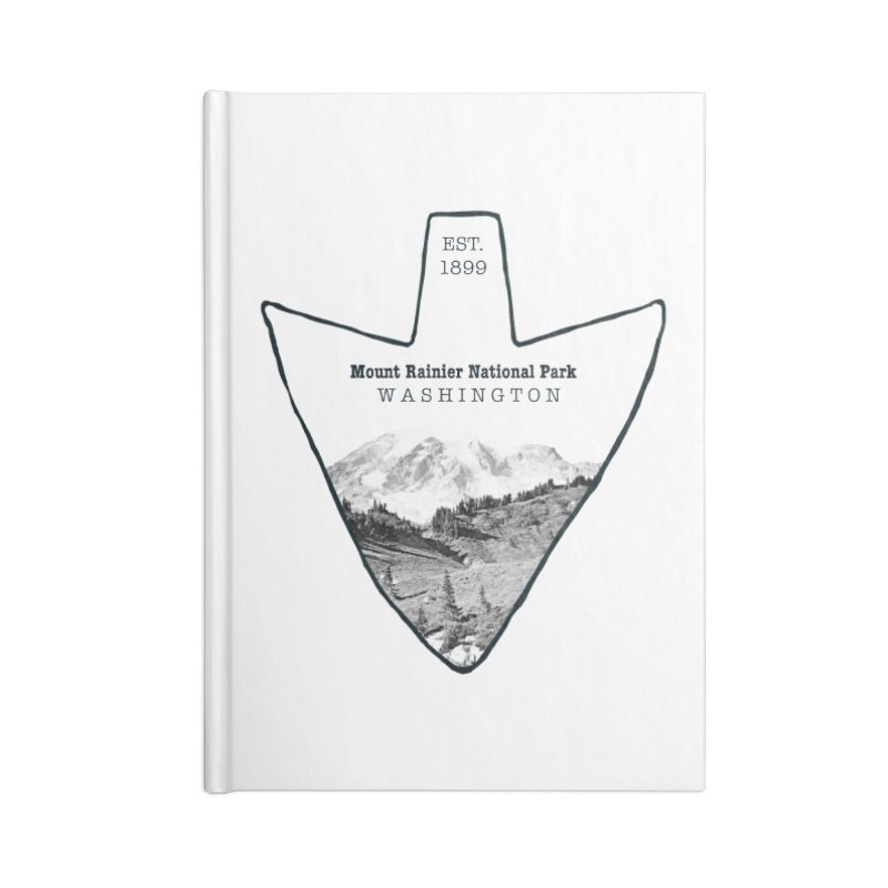 Mount Rainier National Park Arrowhead Accessories Lined Journal Notebook by Of The Wild by Kimberly J Tilley