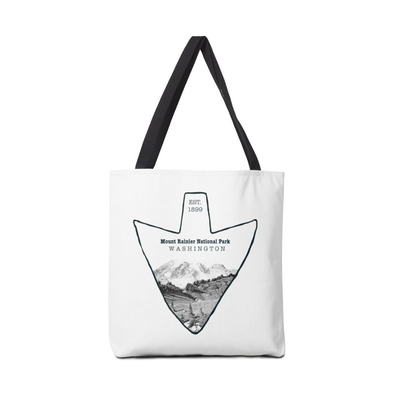 Mount Rainier National Park Arrowhead Accessories Tote Bag Bag by Of The Wild by Kimberly J Tilley