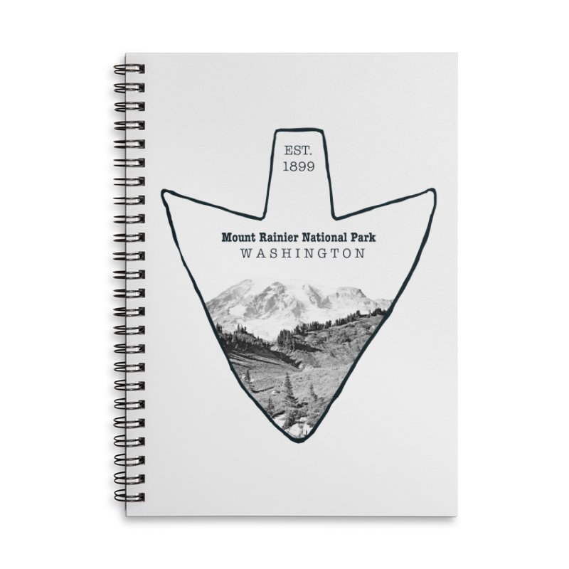 Mount Rainier National Park Arrowhead Accessories Lined Spiral Notebook by Of The Wild by Kimberly J Tilley