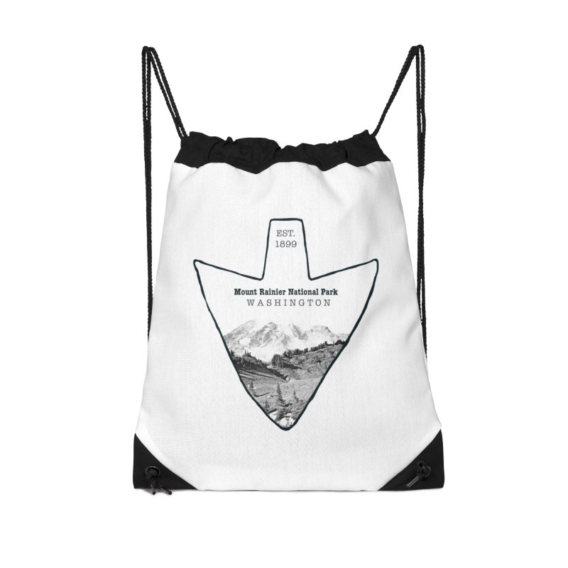 Mount Rainier National Park Arrowhead Accessories Drawstring Bag Bag by Of The Wild by Kimberly J Tilley