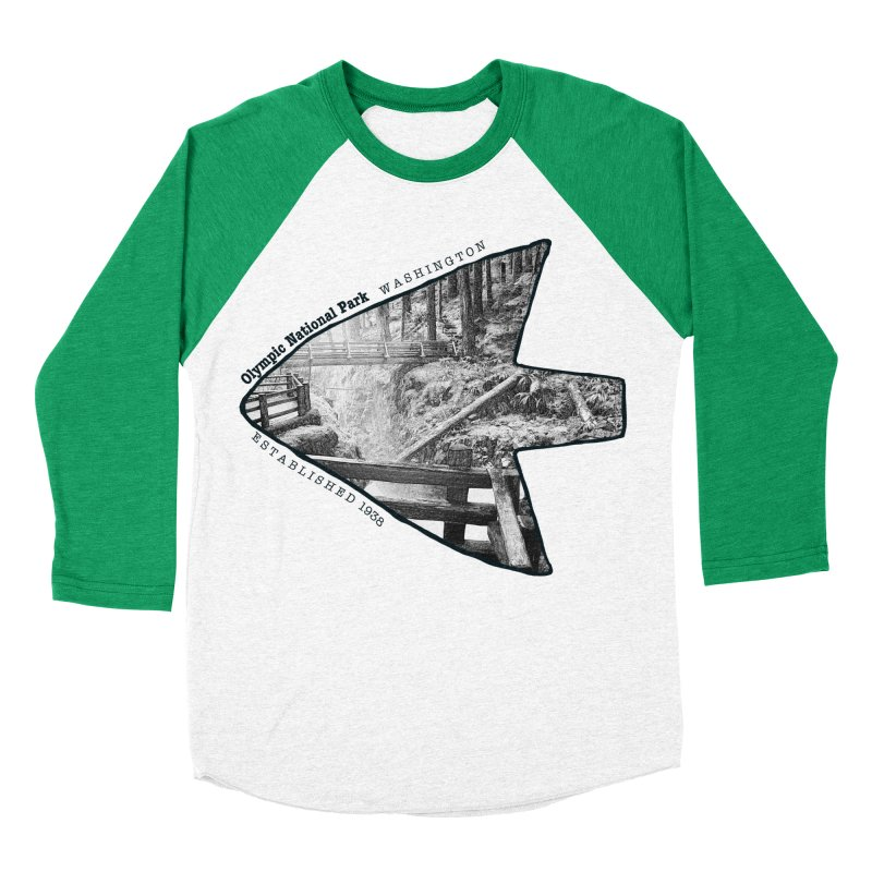 Olympic National Park Arrowhead Men's Baseball Triblend Longsleeve T-Shirt by Of The Wild by Kimberly J Tilley