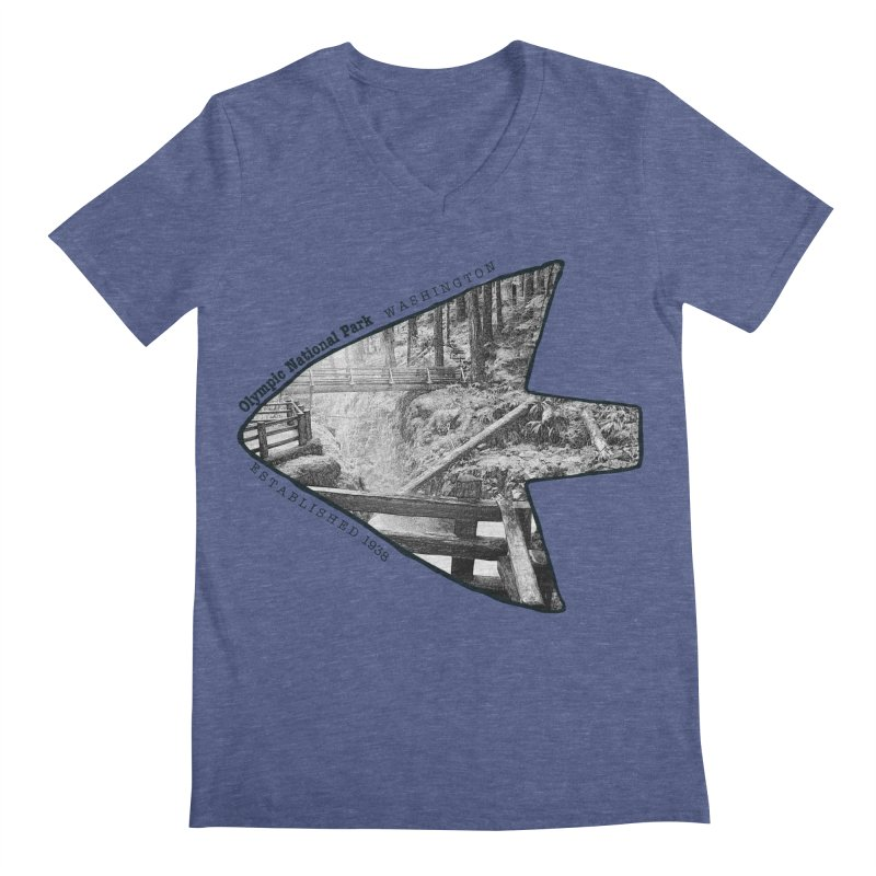 Olympic National Park Arrowhead Men's Regular V-Neck by Of The Wild by Kimberly J Tilley