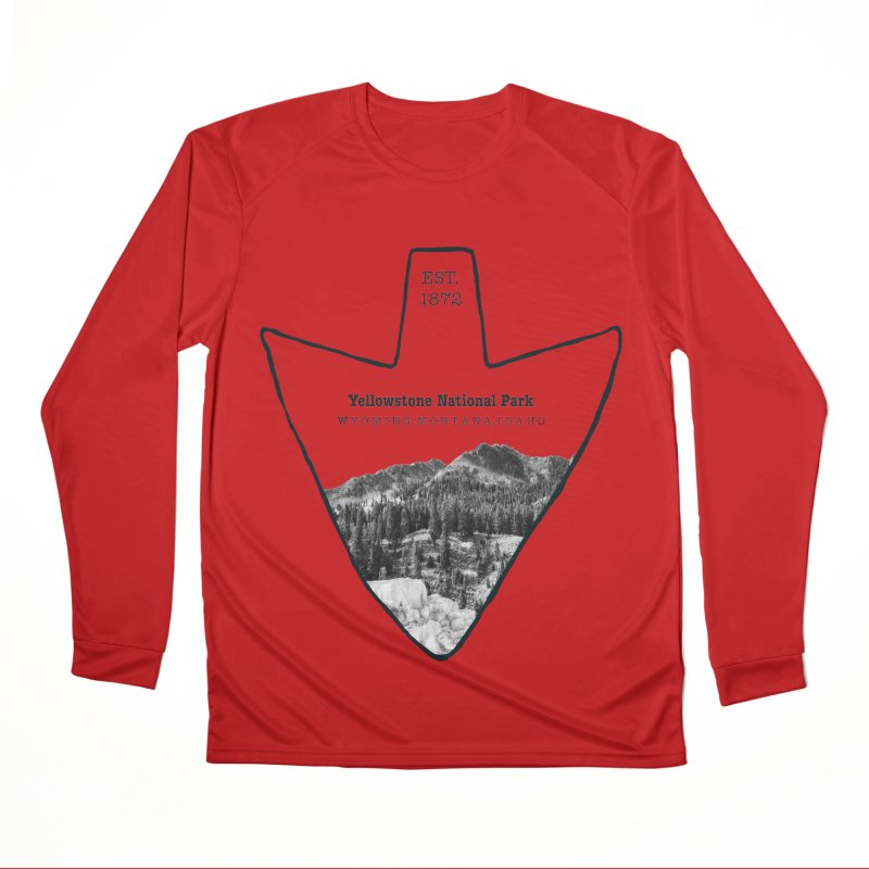 Yellowstone National Park Arrowhead Men's Performance Longsleeve T-Shirt by Of The Wild by Kimberly J Tilley