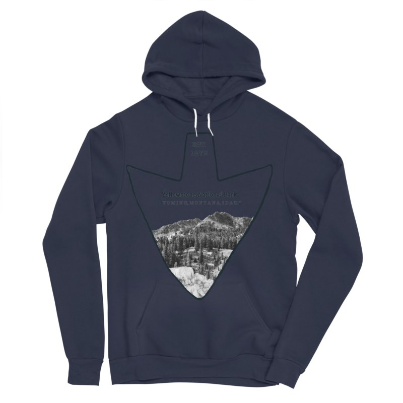 Yellowstone National Park Arrowhead Men's Sponge Fleece Pullover Hoody by Of The Wild by Kimberly J Tilley