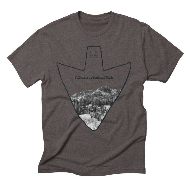 Yellowstone National Park Arrowhead Men's Triblend T-Shirt by Of The Wild by Kimberly J Tilley