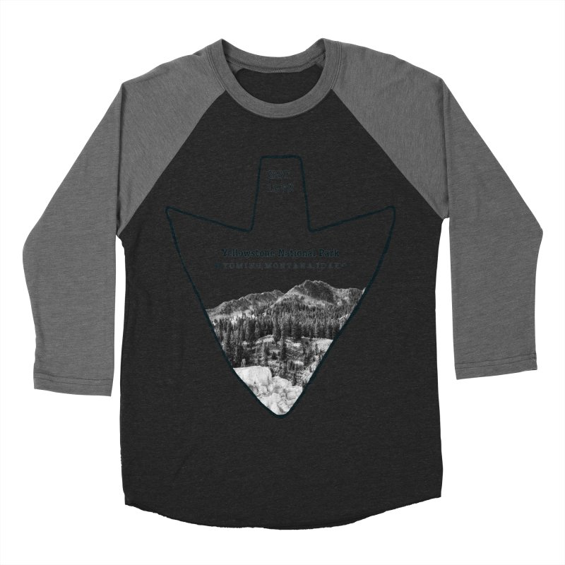 Yellowstone National Park Arrowhead Men's Baseball Triblend T-Shirt by Of The Wild by Kimberly J Tilley