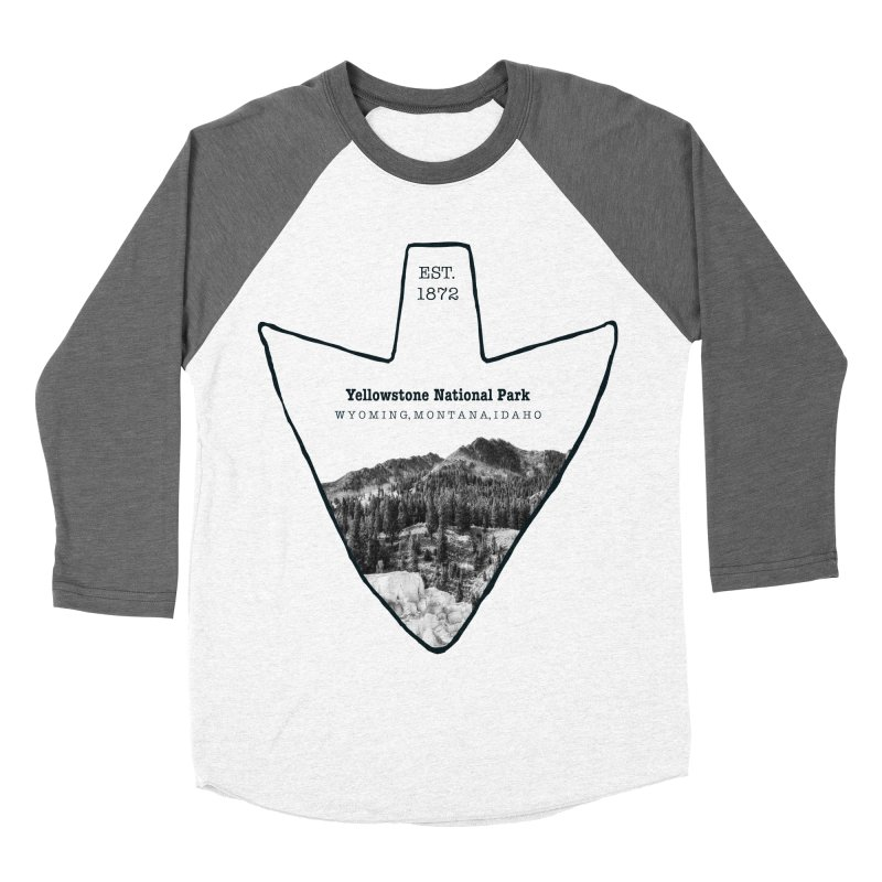 Yellowstone National Park Arrowhead Men's Baseball Triblend Longsleeve T-Shirt by Of The Wild by Kimberly J Tilley