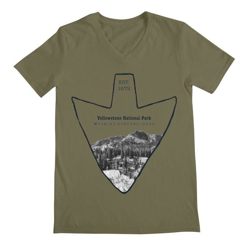 Yellowstone National Park Arrowhead Men's Regular V-Neck by Of The Wild by Kimberly J Tilley