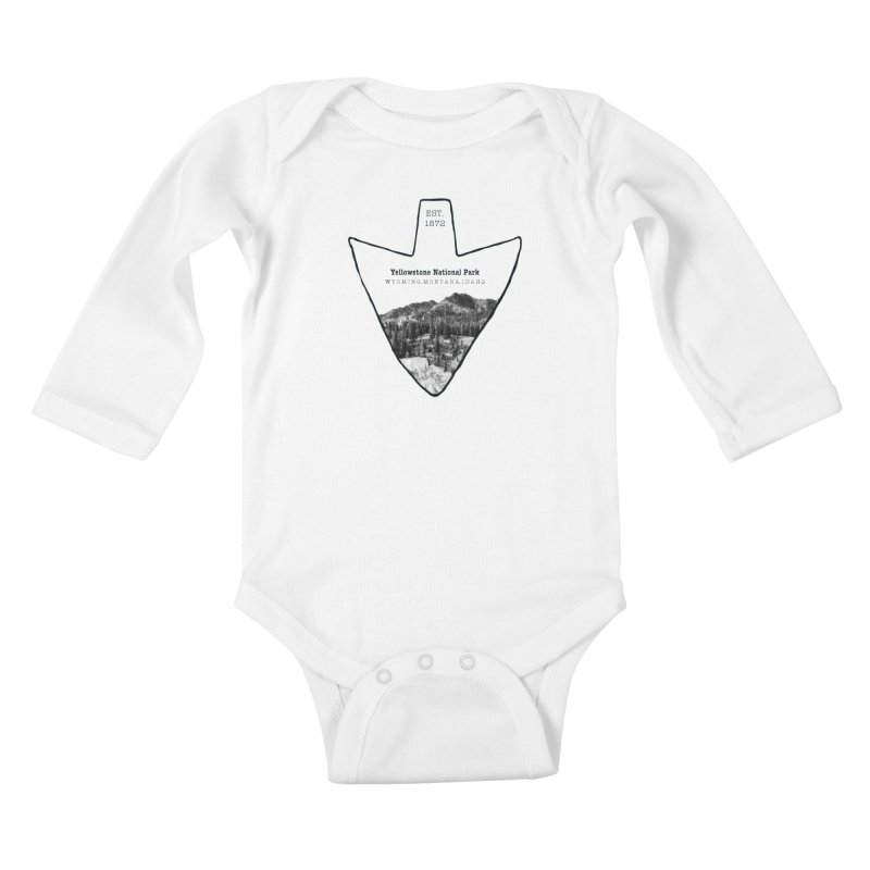 Yellowstone National Park Arrowhead Kids Baby Longsleeve Bodysuit by Of The Wild by Kimberly J Tilley