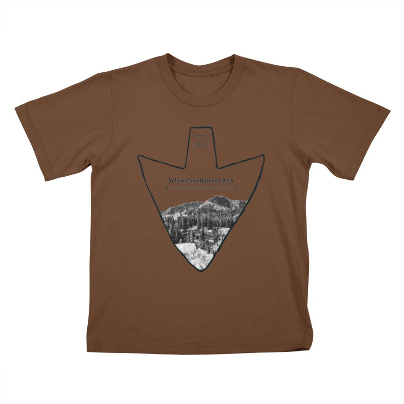 Yellowstone National Park Arrowhead Kids T-Shirt by Of The Wild by Kimberly J Tilley