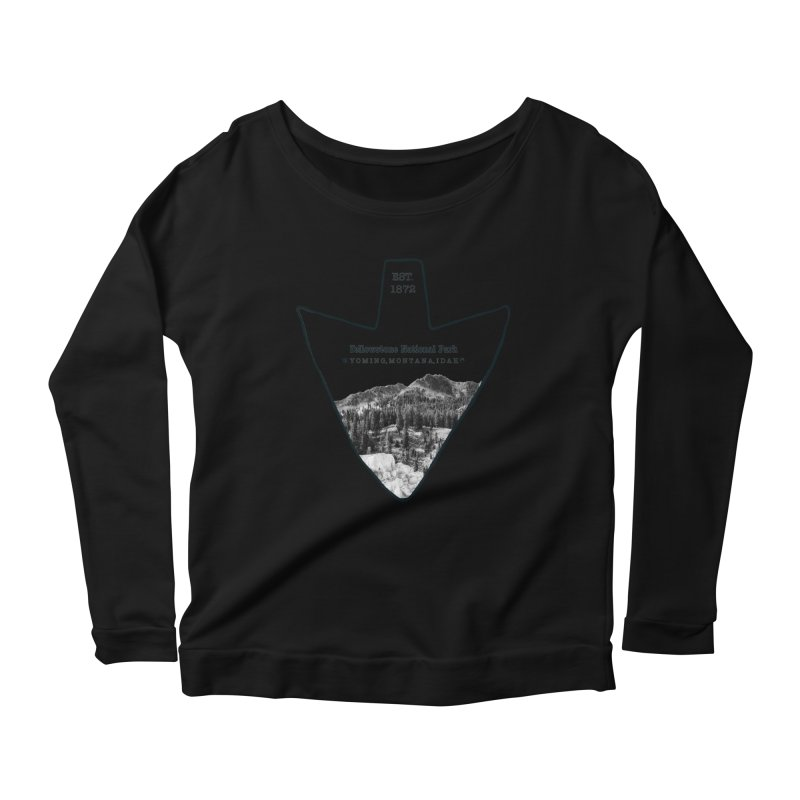 Yellowstone National Park Arrowhead Women's Scoop Neck Longsleeve T-Shirt by Of The Wild by Kimberly J Tilley