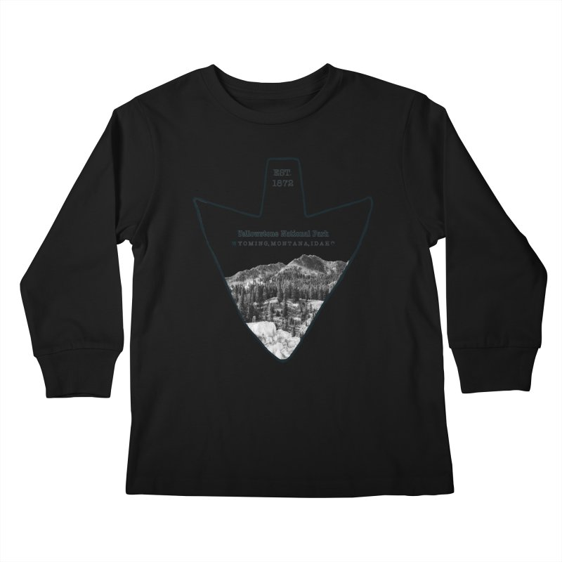 Yellowstone National Park Arrowhead Kids Longsleeve T-Shirt by Of The Wild by Kimberly J Tilley