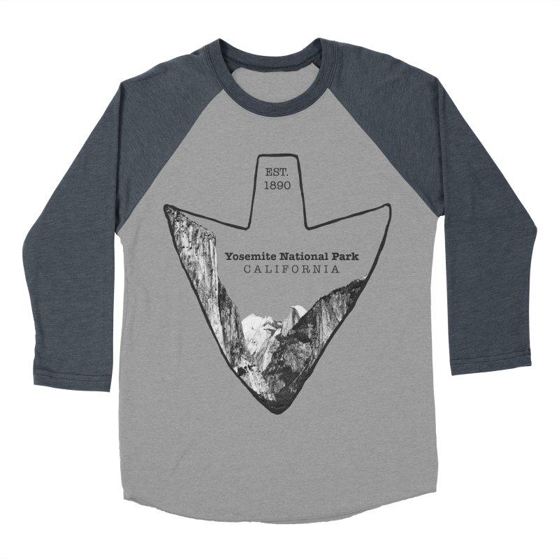 Yosemite National Park Arrowhead Men's Baseball Triblend Longsleeve T-Shirt by Of The Wild by Kimberly J Tilley