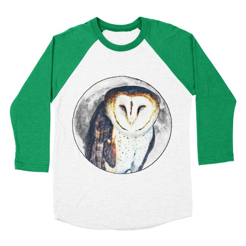 Tyto alba Men's Baseball Triblend Longsleeve T-Shirt by Of The Wild by Kimberly J Tilley