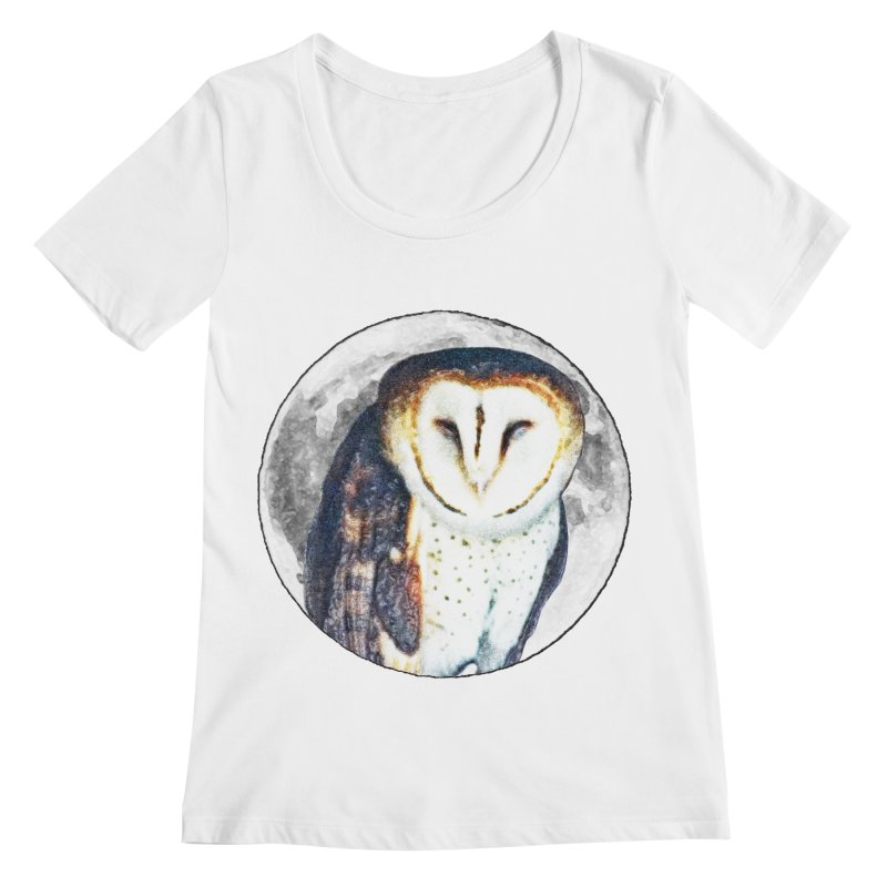 Tyto alba Women's Regular Scoop Neck by Of The Wild by Kimberly J Tilley
