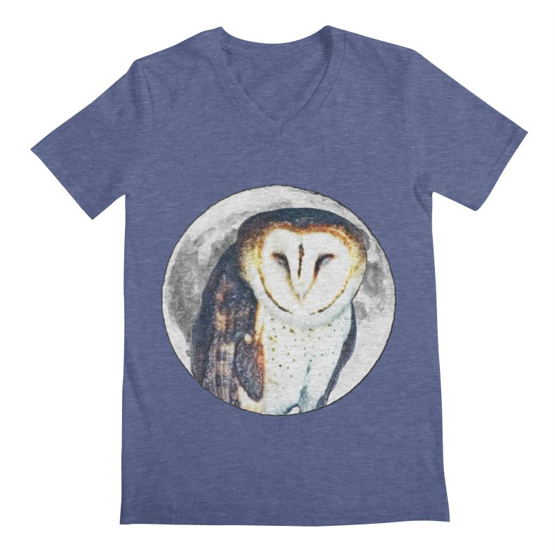 Tyto alba Men's V-Neck by Of The Wild by Kimberly J Tilley