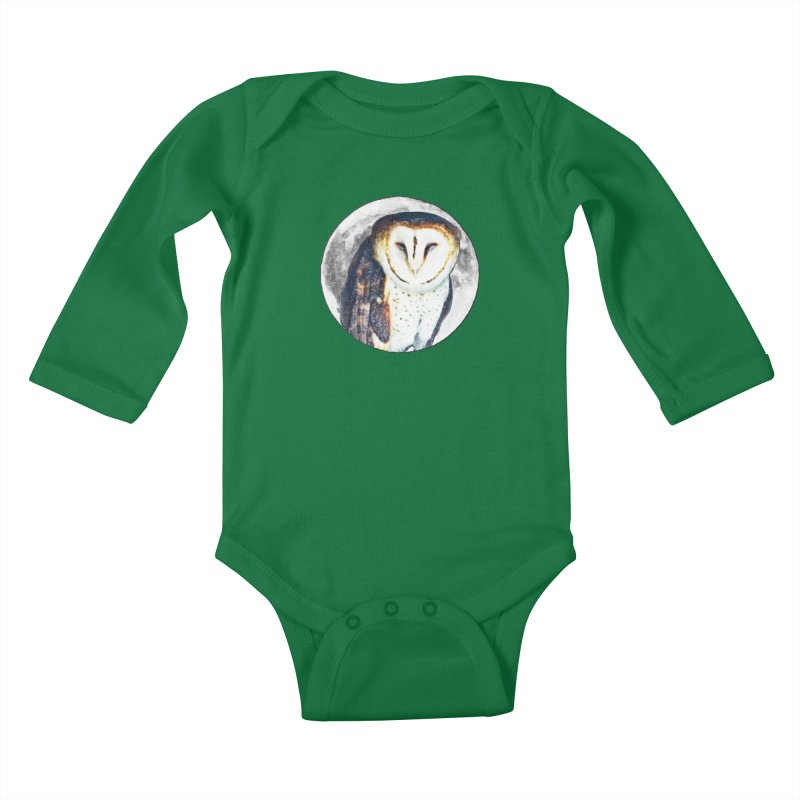 Tyto alba Kids Baby Longsleeve Bodysuit by Of The Wild by Kimberly J Tilley