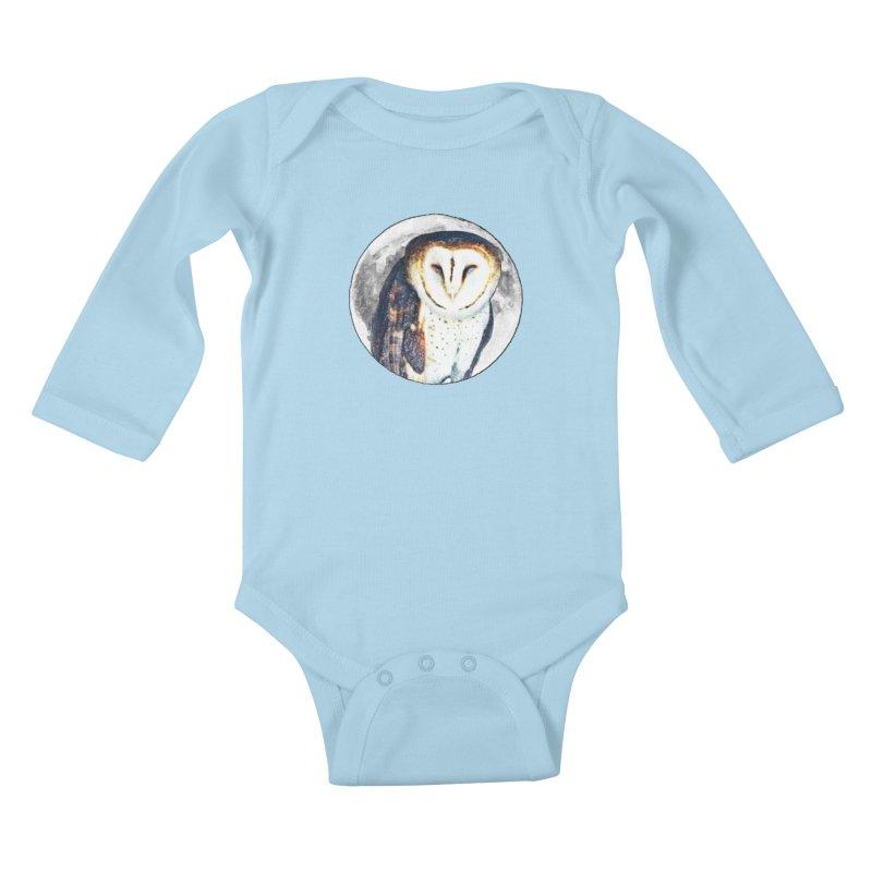 Tyto alba Kids Baby Longsleeve Bodysuit by Of The Wild by Kimberly J Tilley