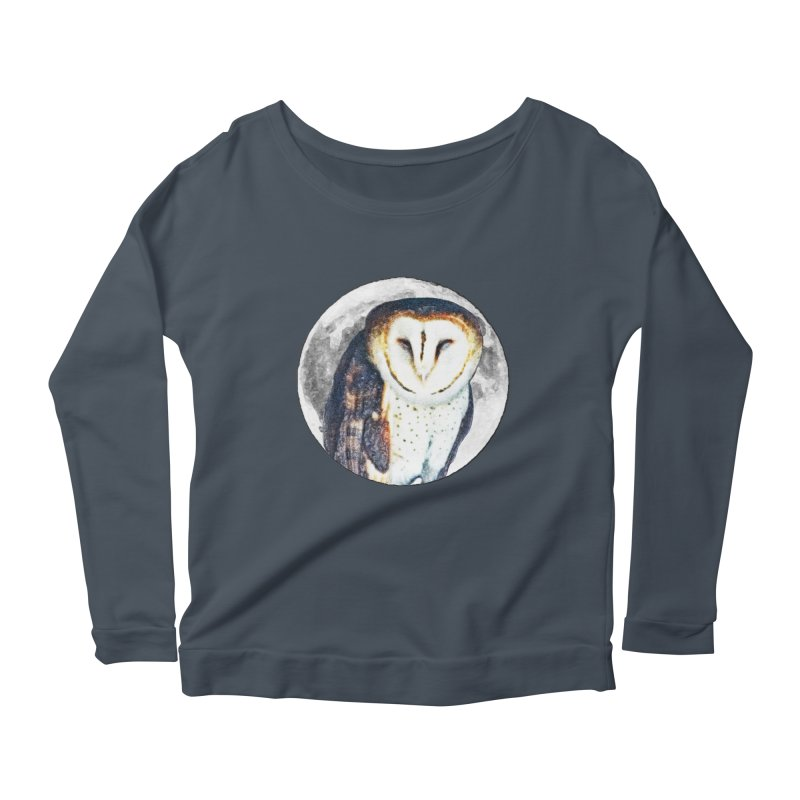 Tyto alba Women's Scoop Neck Longsleeve T-Shirt by Of The Wild by Kimberly J Tilley