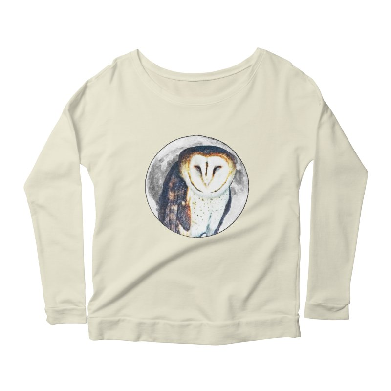 Tyto alba Women's Scoop Neck Longsleeve T-Shirt by Of The Wild by Kimberly J Tilley