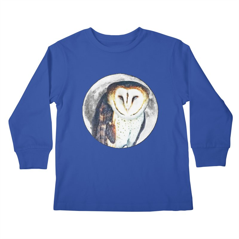 Tyto alba Kids Longsleeve T-Shirt by Of The Wild by Kimberly J Tilley