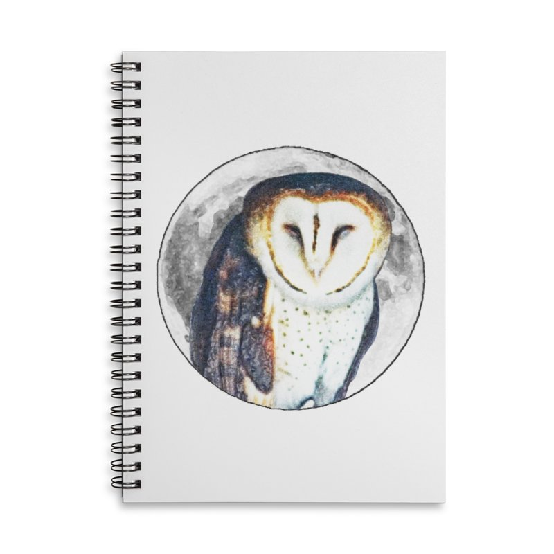 Tyto alba Accessories Lined Spiral Notebook by Of The Wild by Kimberly J Tilley