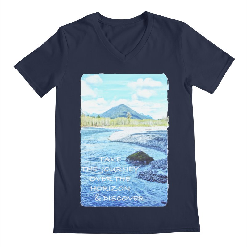Take the Journey Men's Regular V-Neck by Of The Wild by Kimberly J Tilley