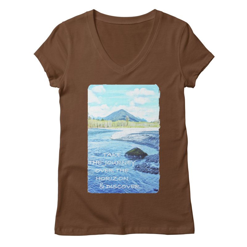 Take the Journey Women's Regular V-Neck by Of The Wild by Kimberly J Tilley