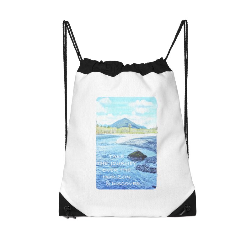 Take the Journey Accessories Drawstring Bag Bag by Of The Wild by Kimberly J Tilley