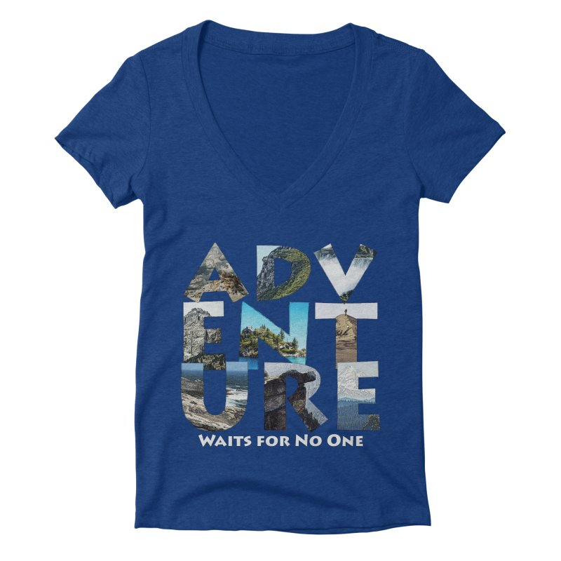 Adventure Waits for No One Women's Deep V-Neck V-Neck by Of The Wild by Kimberly J Tilley