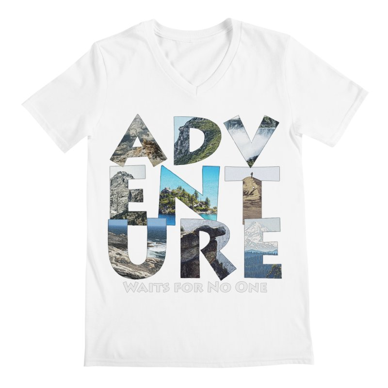 Adventure Waits for No One Men's V-Neck by Of The Wild by Kimberly J Tilley