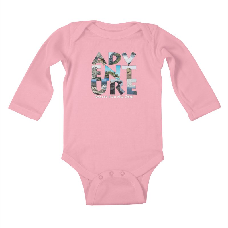 Adventure Waits for No One Kids Baby Longsleeve Bodysuit by Of The Wild by Kimberly J Tilley