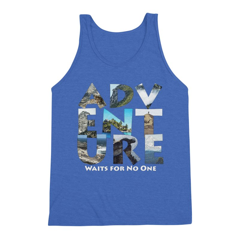 Adventure Waits for No One Men's Triblend Tank by Of The Wild by Kimberly J Tilley