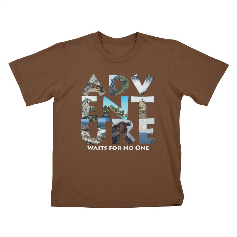 Adventure Waits for No One Kids T-Shirt by Of The Wild by Kimberly J Tilley