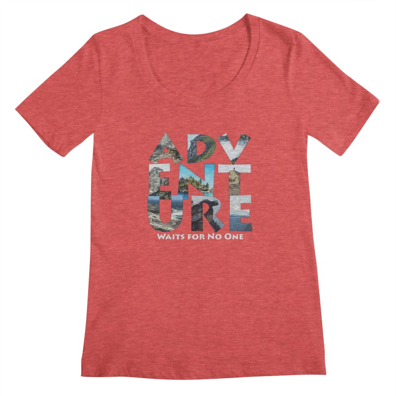 Adventure Waits for No One Women's Regular Scoop Neck by Of The Wild by Kimberly J Tilley