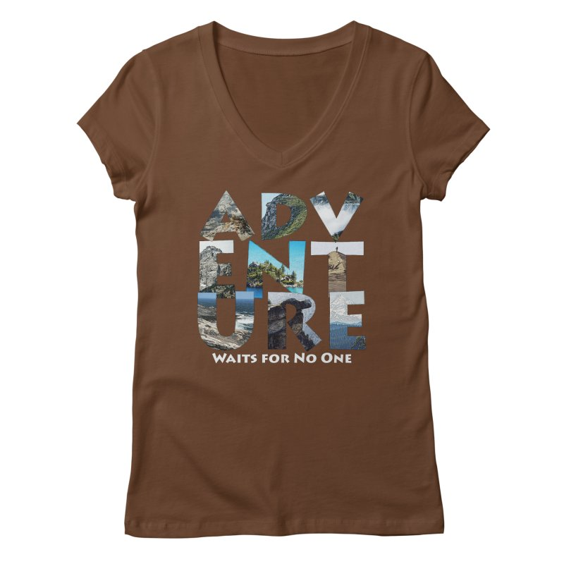 Adventure Waits for No One Women's Regular V-Neck by Of The Wild by Kimberly J Tilley