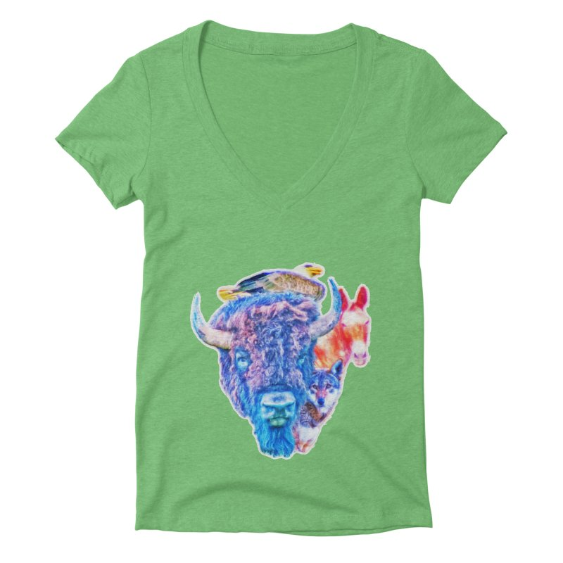 American Spirit Women's Deep V-Neck V-Neck by Of The Wild by Kimberly J Tilley