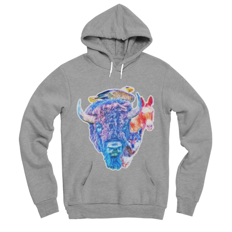American Spirit Men's Sponge Fleece Pullover Hoody by Of The Wild by Kimberly J Tilley