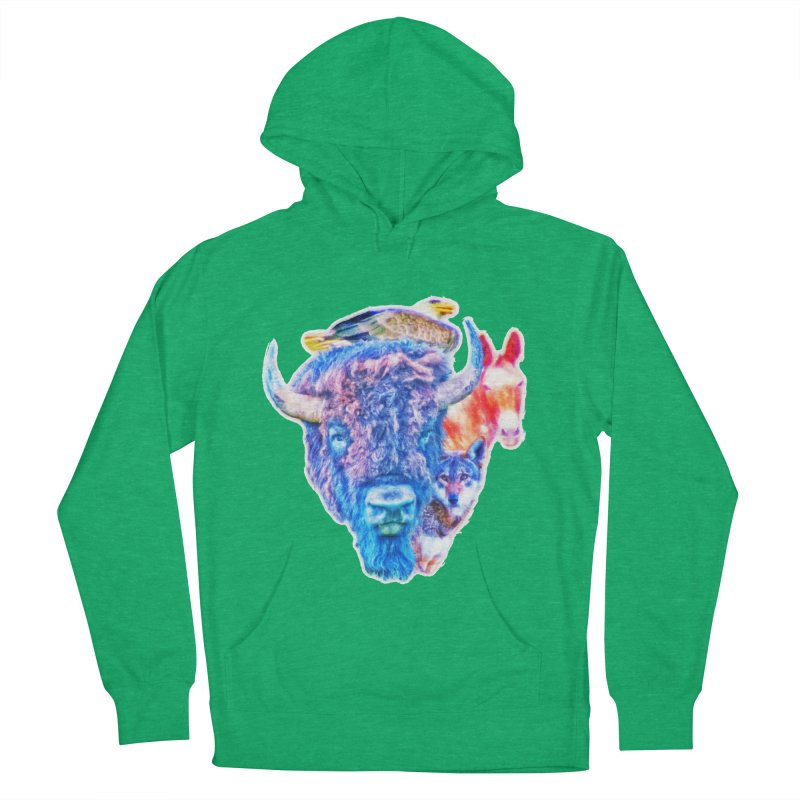 American Spirit Women's French Terry Pullover Hoody by Of The Wild by Kimberly J Tilley