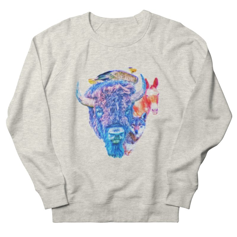 American Spirit Men's French Terry Sweatshirt by Of The Wild by Kimberly J Tilley