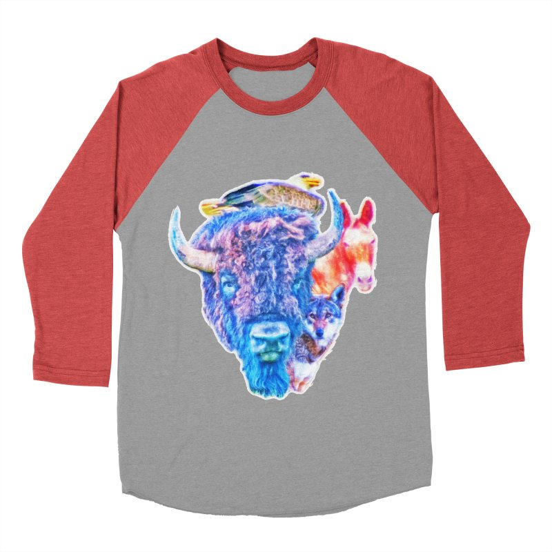 American Spirit Women's Baseball Triblend Longsleeve T-Shirt by Of The Wild by Kimberly J Tilley